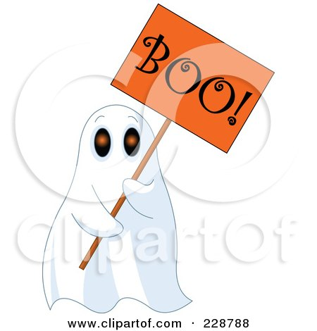 Royalty-Free (RF) Clipart Illustration of a Sheet Ghost Holding An Orange Boo Sign by Pushkin