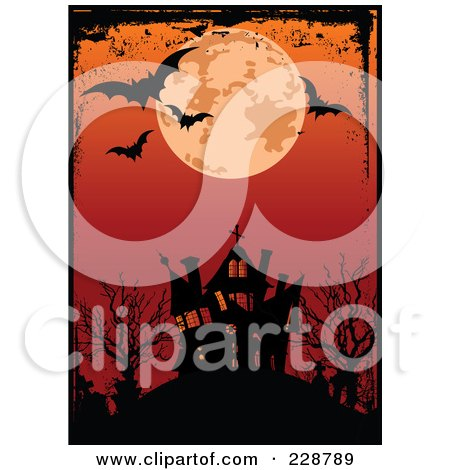 Royalty-Free (RF) Clipart Illustration of a Grungy Border Around A Full Moon And Bats Above A Haunted House And Red Sky by Pushkin