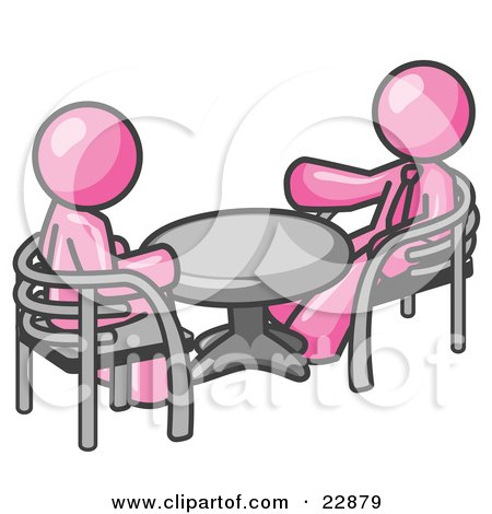 Clipart Illustration of Two Pink Business Men Sitting Across From Eachother at a Table During a Meeting by Leo Blanchette