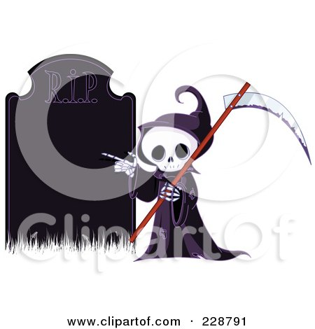 Royalty-Free (RF) Clipart Illustration of a Cute Grim Reaper Holding A Scythe And Pointing To A Blank Gravestone by Pushkin