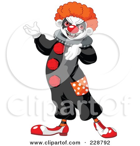 Royalty-Free (RF) Clipart Illustration of a Creepy Clown Presenting by Pushkin
