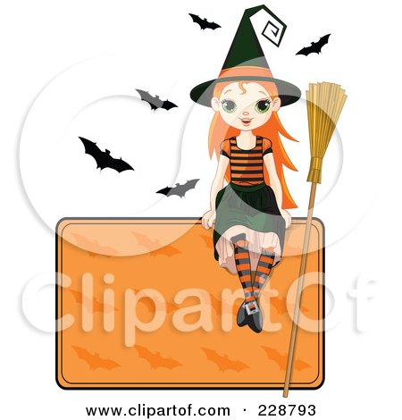 Royalty-Free (RF) Clipart Illustration of a Halloween Witch Girl Sitting On A Blank Sign With Bats by Pushkin