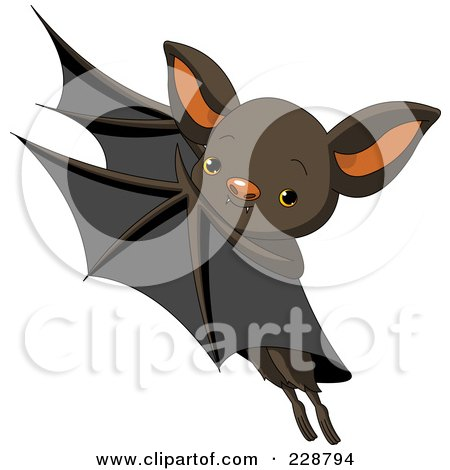 Royalty-Free (RF) Clipart Illustration of a Cute Flying Bat by Pushkin