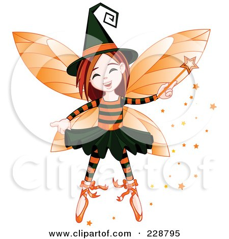 Royalty-Free (RF) Clipart Illustration of a Halloween Witch Fairy Girl by Pushkin