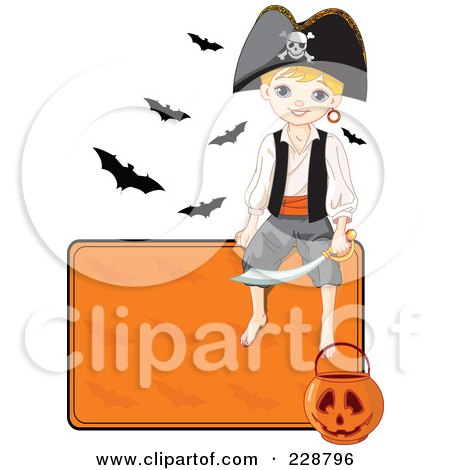 Royalty-Free (RF) Clipart Illustration of a Halloween Pirate Boy Sitting On A Blank Orange Sign With A Pumpkin Basket And Bats by Pushkin