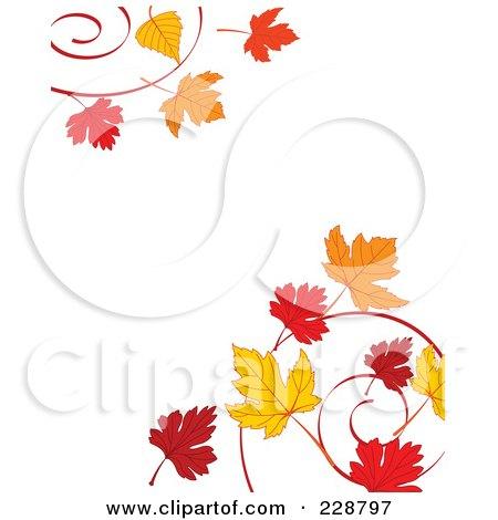 Royalty-Free (RF) Clipart Illustration of a Border Of Autumn Leaf Swirls by Pushkin