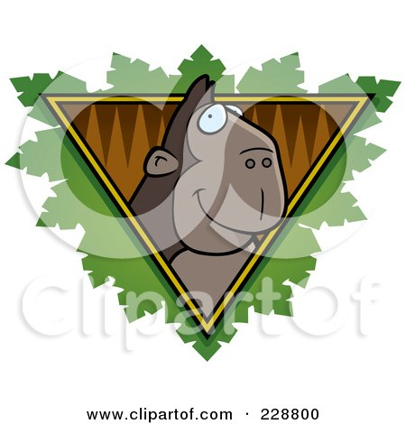 Royalty-Free (RF) Clipart Illustration of an Ape Face Over A Safari Triangle With Leaves by Cory Thoman