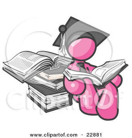 Clipart Illustration of a Pink Male Student in a Graduation Cap, Reading a Book and Leaning Against a Stack of Books by Leo Blanchette