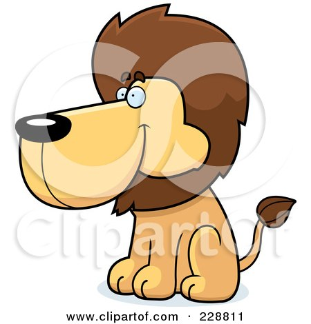 Royalty-Free (RF) Clipart Illustration of a Lion Sitting And Facing Left by Cory Thoman