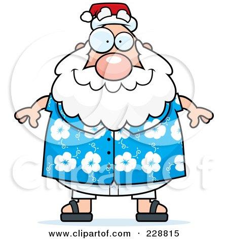 Royalty-Free (RF) Clipart Illustration of a Chubby Santa In A Hawaiian Shirt by Cory Thoman