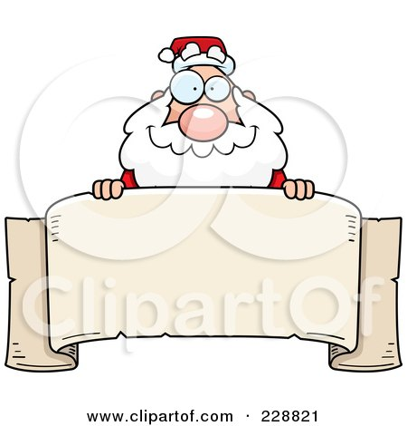 Royalty-Free (RF) Clipart Illustration of a Santa Looking Over A Blank Banner by Cory Thoman