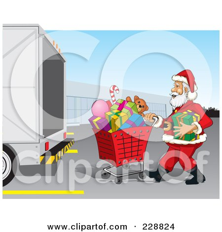 Royalty-Free (RF) Clipart Illustration of Santa Pushing A Shopping Cart Of Christmas Presents To A Truck by David Rey