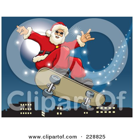 Royalty-Free (RF) Clipart Illustration of Santa Riding On A Magic Flying Skateboard Over A City by David Rey