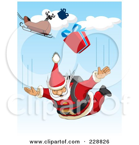 Royalty-Free (RF) Clipart Illustration of Santa Sky Diving From His Sleigh by David Rey