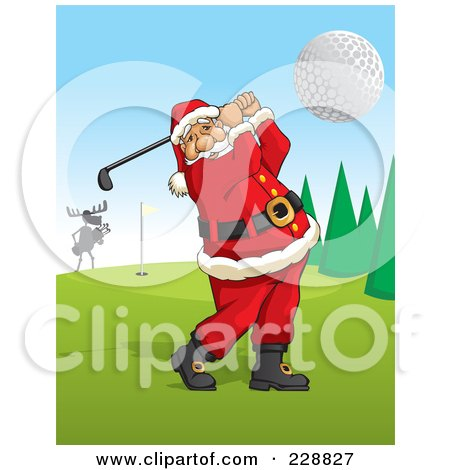 Royalty-Free (RF) Clipart Illustration of Santa Swinging A Golf Club On A Course by David Rey