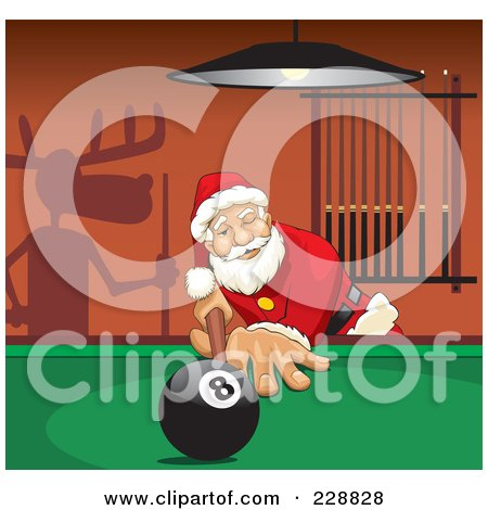 Royalty-Free (RF) Clipart Illustration of Santa Leaning Over A Billiards Table, A Shadow Of Rudolph On The Wall by David Rey