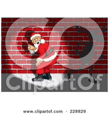 Royalty-Free (RF) Clipart Illustration of Santa Getting Caught Spray Painting Graffiti On A Brick Wall, A Reindeer Running Away by David Rey