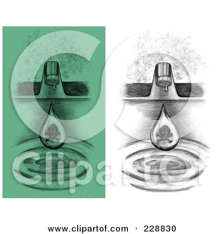 Royalty-Free (RF) Clipart Illustration of a Digital Collage Of Sketched Green And Black And White Water Drops Dripping From A Sink Faucet by inkgraphics