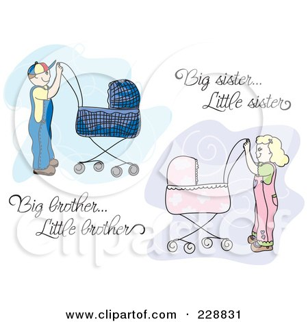 Royalty-Free (RF) Clipart Illustration of a Digital Collage Of A Big Brother And Big Sister Pushing Prams With Text by inkgraphics