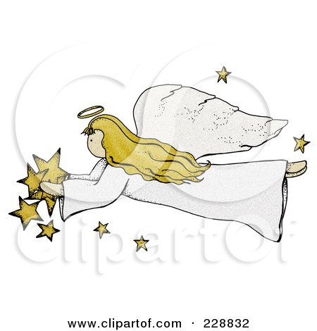 Royalty-Free (RF) Clipart Illustration of a Folk Art Styled Angel With Stars by inkgraphics