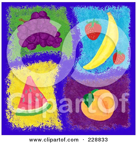 Royalty-Free (RF) Clipart Illustration of a Digital Collage Of Painted Fruits On Blue by inkgraphics