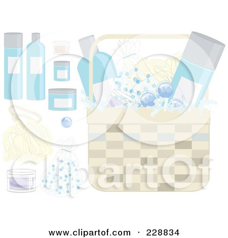 Royalty-Free (RF) Clipart Illustration of a Digital Collage Of Gift Basket Items by inkgraphics