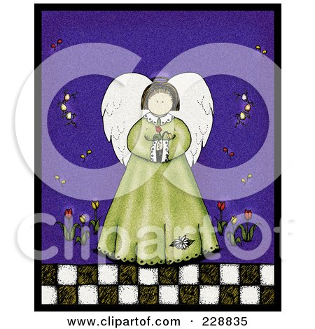 Royalty-Free (RF) Clipart Illustration of a Folk Art Styled Spring Angel Holding Tulip Flowers by inkgraphics