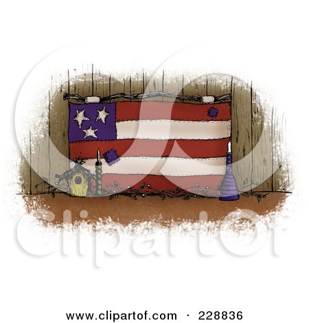 Royalty-Free (RF) Clipart Illustration of a Vintage Folk Art American Flag With A Birdhouse Against Wood by inkgraphics