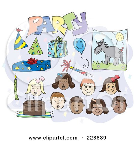 Royalty-Free (RF) Clipart Illustration of a Digital Collage Of Birthday Children And Items by inkgraphics