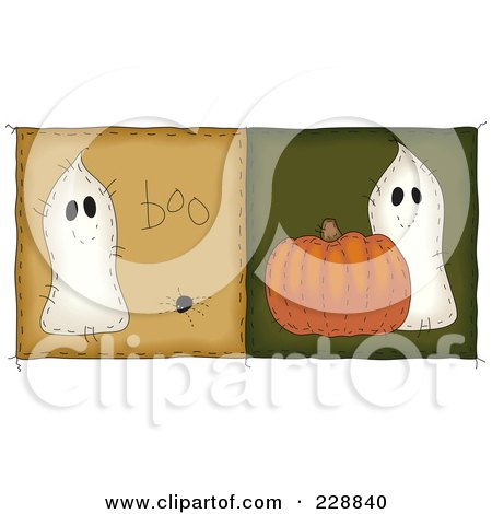 Royalty-Free (RF) Clipart Illustration of a Digital Collage Of Two Folk Art Style Quilt Halloween Ghost Squares by inkgraphics