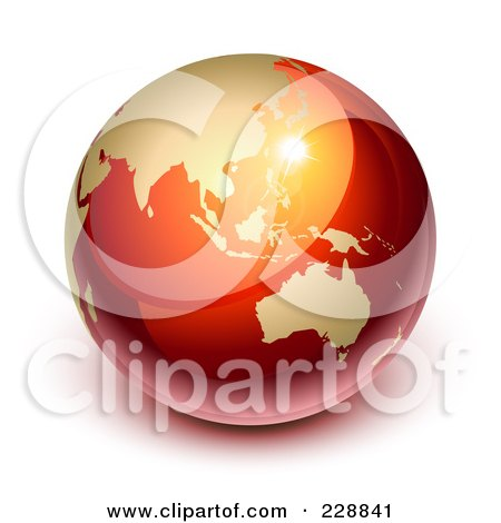 Royalty-Free (RF) Clipart Illustration of a 3d Red And Gold Shiny Earth Featuring Asia And Australia by Oligo
