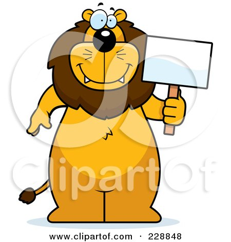 Royalty-Free (RF) Clipart Illustration of a Lion Standing And Holding A Sign by Cory Thoman