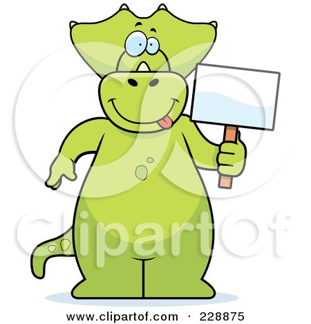 Royalty-Free (RF) Clipart Illustration of a Triceratops Standing And Holding A Sign by Cory Thoman