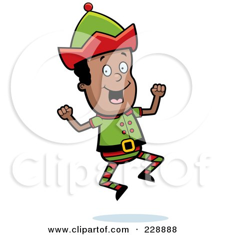 Royalty-Free (RF) Clipart Illustration of a Happy Black Elf Jumping by Cory Thoman