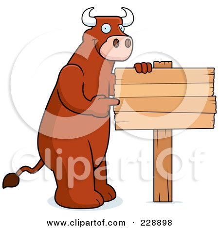 Royalty-Free (RF) Clipart Illustration of a Bull Pointing To A Blank Wooden Sign by Cory Thoman