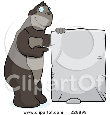 Royalty-Free (RF) Clipart Illustration of an Ape Holding Up A Stone Sign by Cory Thoman
