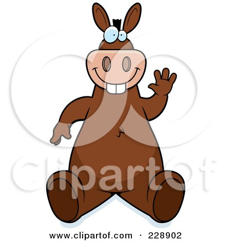 Royalty-Free (RF) Clipart Illustration of a Donkey Sitting And Waving by Cory Thoman