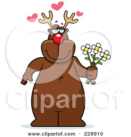 Royalty-Free (RF) Clipart Illustration of a Reindeer Standing And Holding Flowers by Cory Thoman