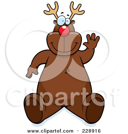 Royalty-Free (RF) Clipart Illustration of a Reindeer Sitting And Waving by Cory Thoman
