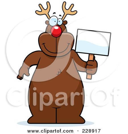 Royalty-Free (RF) Clipart Illustration of a Reindeer Standing And Holding A Sign by Cory Thoman