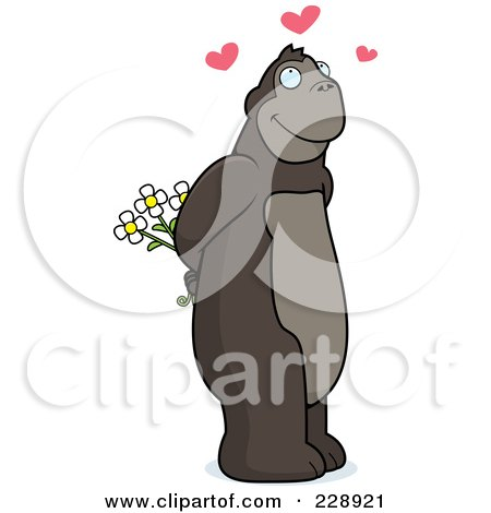 Royalty-Free (RF) Clipart Illustration of a Romantic Ape Holding Flowers Behind His Back by Cory Thoman