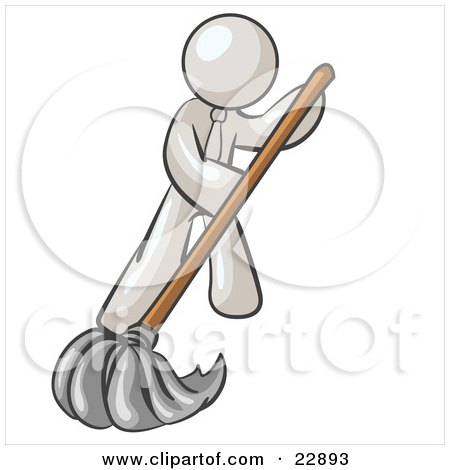 Clipart Illustration of a White Man Wearing A Tie, Using A Mop While Mopping A Hard Floor To Clean Up A Mess Or Spill by Leo Blanchette