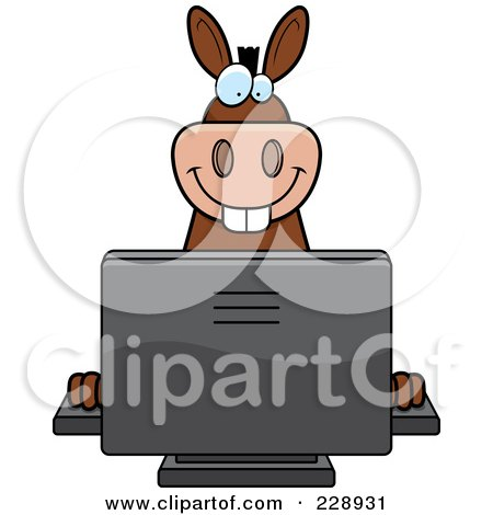 Royalty-Free (RF) Clipart Illustration of a Donkey Using A Desktop Computer by Cory Thoman