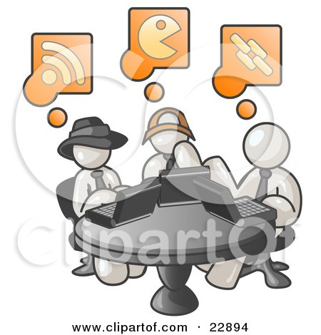 Clipart Illustration of Three White Men Using Laptops in an Internet Cafe by Leo Blanchette