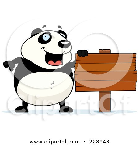 Royalty-Free (RF) Clipart Illustration of a Panda With A Blank Wooden Sign by Cory Thoman