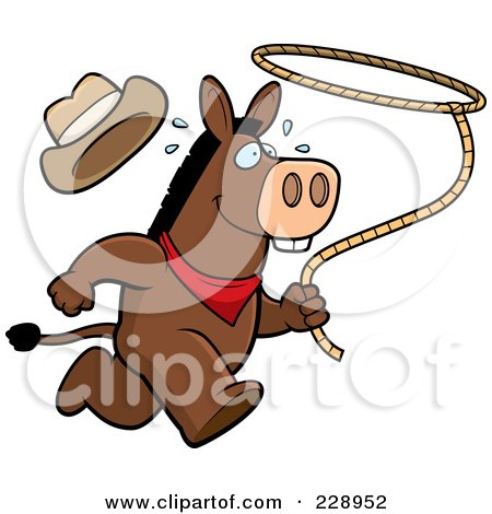 Royalty-Free (RF) Clipart Illustration of a Rodeo Donkey Running With A Lasso by Cory Thoman
