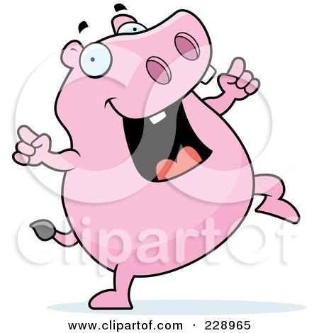 Royalty-Free (RF) Clipart Illustration of a Pink Hippo Dancing by Cory Thoman