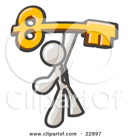 Clipart Illustration of a White Businessman Holding A Large Golden Skeleton Key, Symbolizing Success by Leo Blanchette