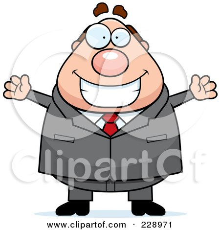 Royalty-Free (RF) Clipart Illustration of a Happy Chubby Boss by Cory Thoman