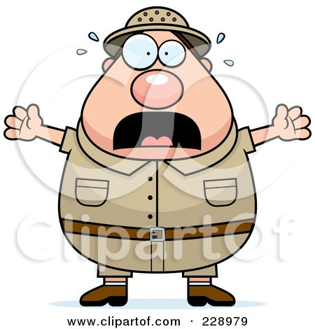 Royalty-Free (RF) Clipart Illustration of a Scared Safari Man by Cory Thoman